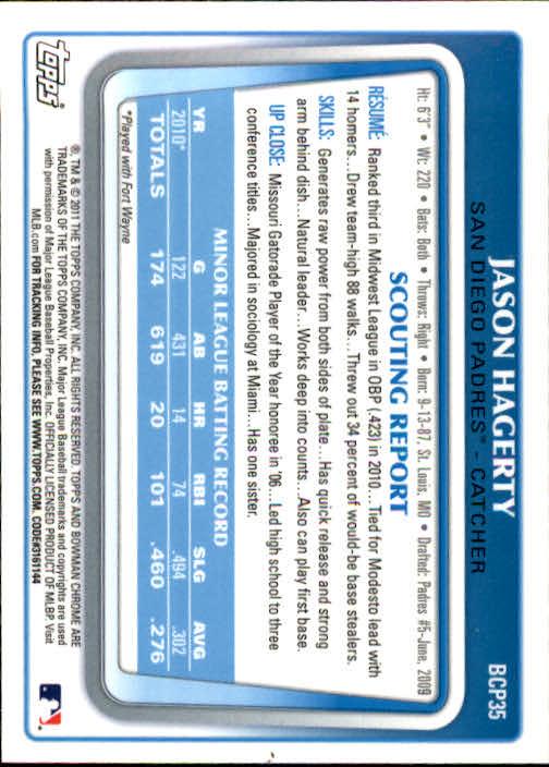 2011 Bowman Chrome Prospects #BCP35 Jason Hagerty back image