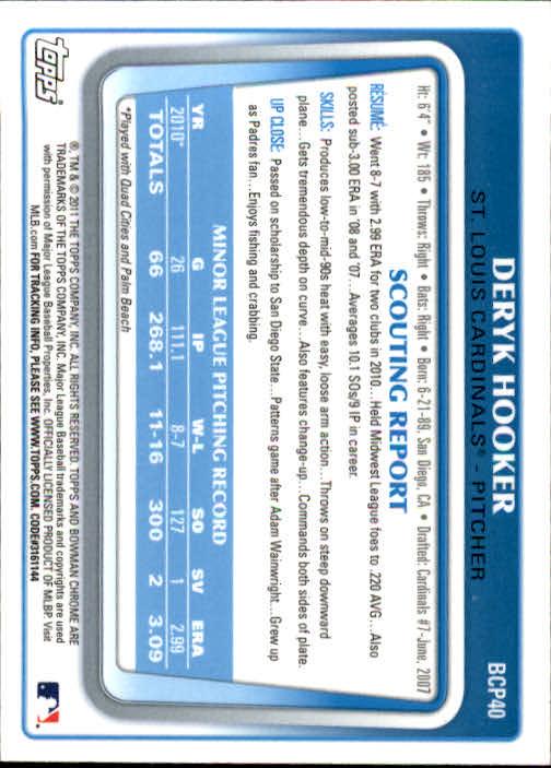 2011 Bowman Chrome Prospects #BCP40 Deryk Hooker back image