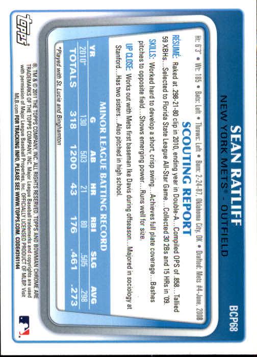 2011 Bowman Chrome Prospects #BCP68 Sean Ratliff back image