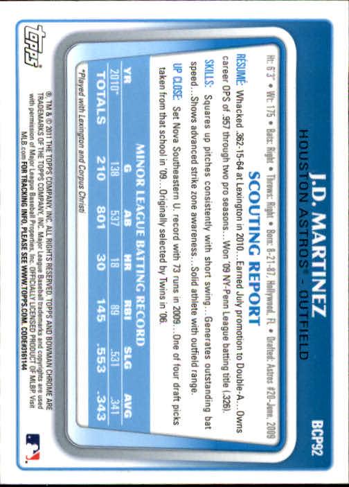 2011 Bowman Chrome Prospects #BCP92 J.D. Martinez back image