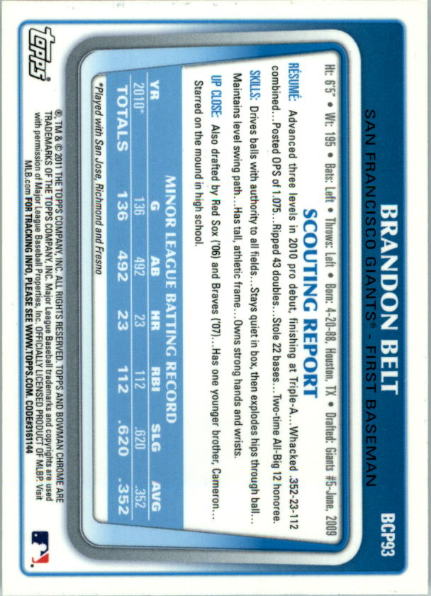 2011 Bowman Chrome Prospects #BCP93 Brandon Belt back image