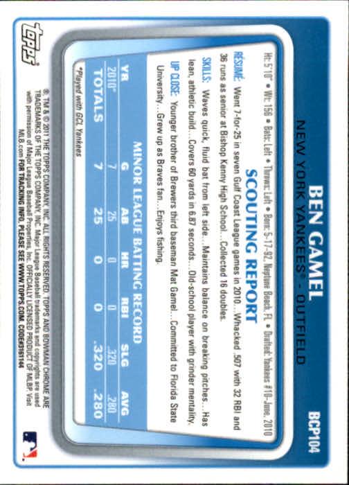 2011 Bowman Chrome Prospects #BCP104 Ben Gamel back image