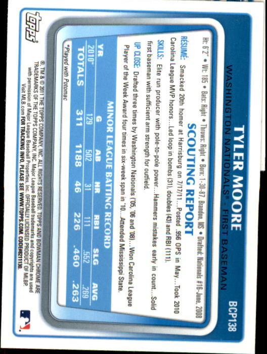 2011 Bowman Chrome Prospects #BCP138 Tyler Moore back image