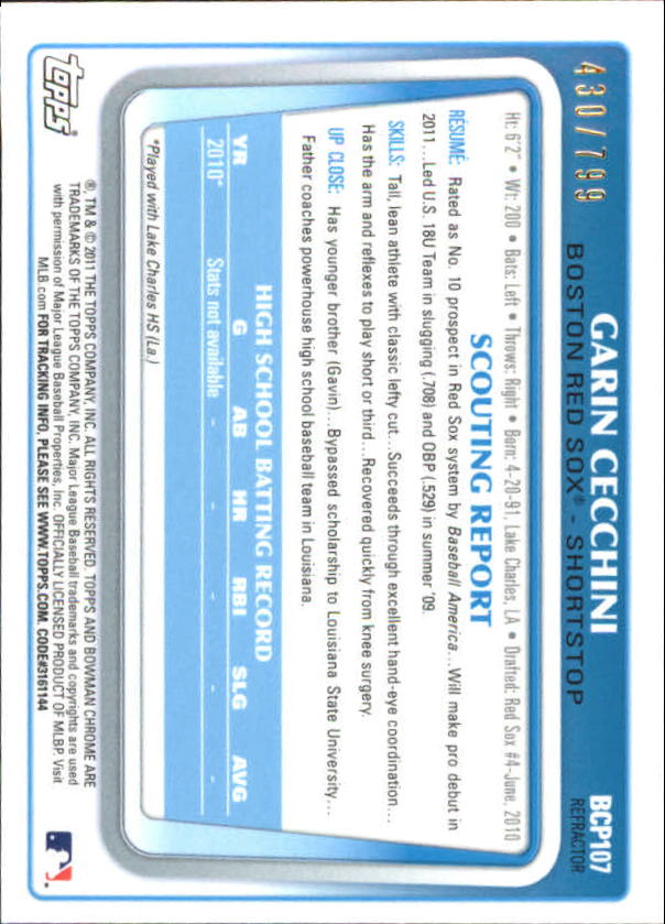 2011 Bowman Chrome Prospects Refractors #BCP107 Garin Cecchini back image