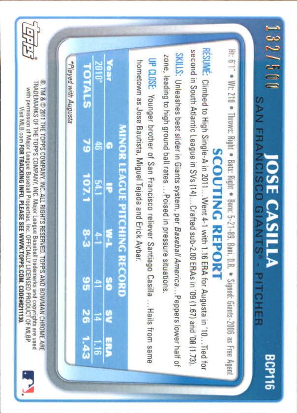 2011 Bowman Chrome Prospects Refractors #BCP116 Jose Casilla back image