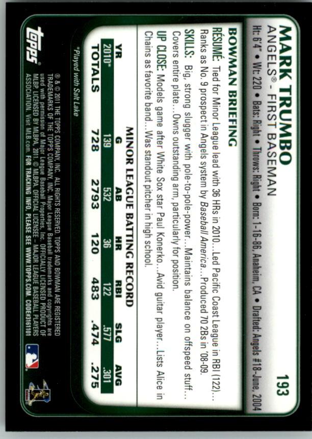 2011 Bowman #193 Mark Trumbo (RC) back image