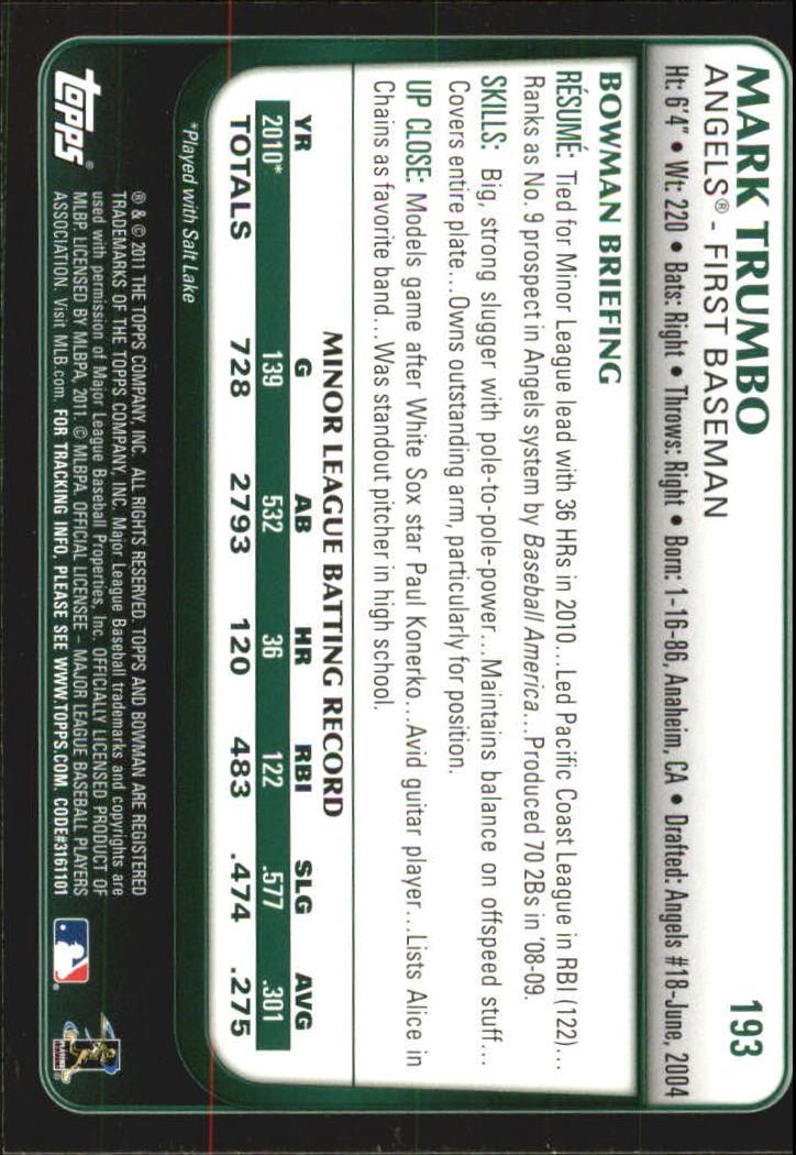 2011 Bowman Gold #193 Mark Trumbo back image