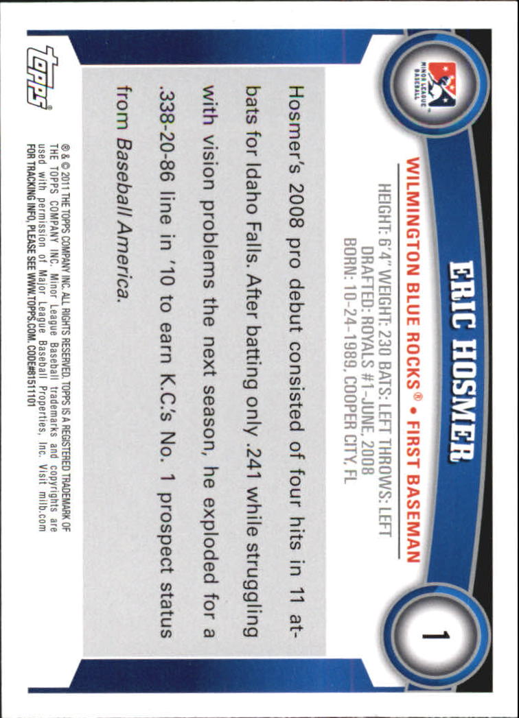 2011 Topps Pro Debut #1 Eric Hosmer back image