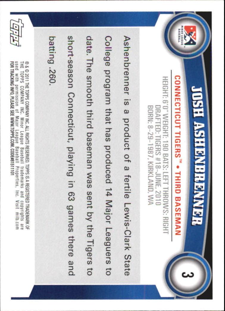 2011 Topps Pro Debut #3 Josh Ashenbrenner back image