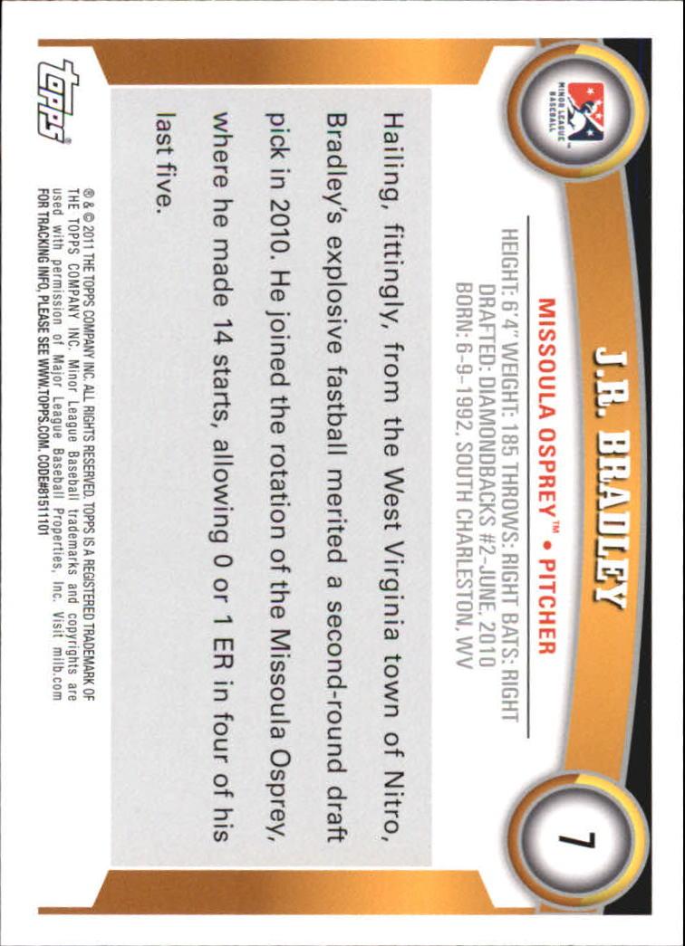 2011 Topps Pro Debut #7 J.R. Bradley back image