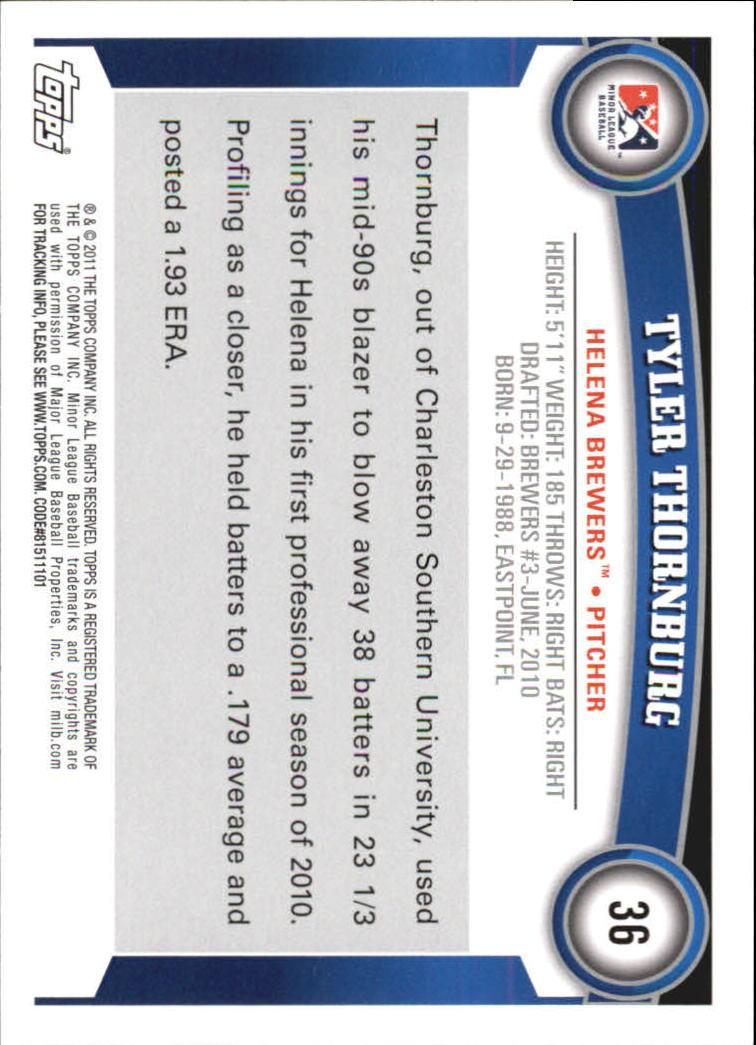 2011 Topps Pro Debut #36 Tyler Thornburg back image