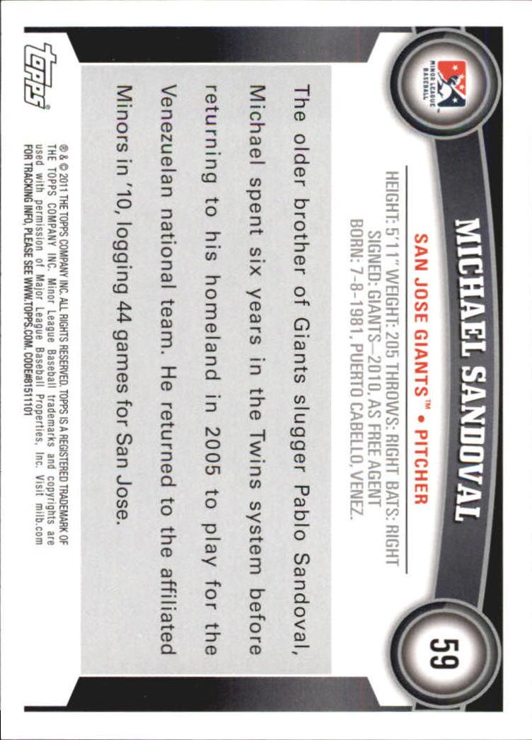 2011 Topps Pro Debut #59 Michael Sandoval back image