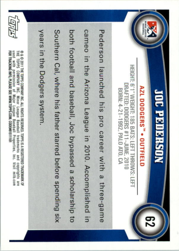2011 Topps Pro Debut #62 Joc Pederson back image