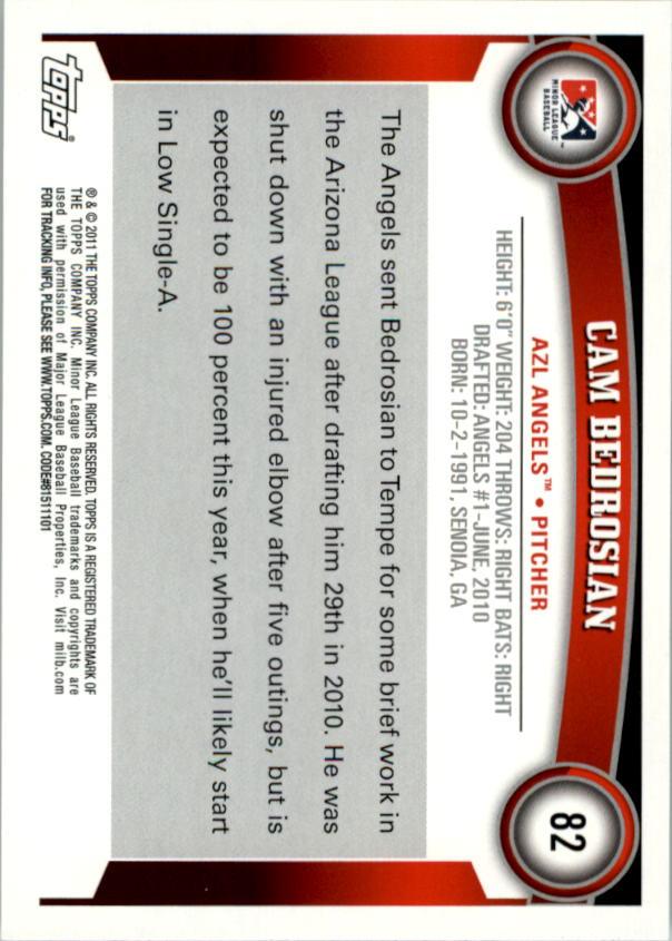2011 Topps Pro Debut #82 Cam Bedrosian back image