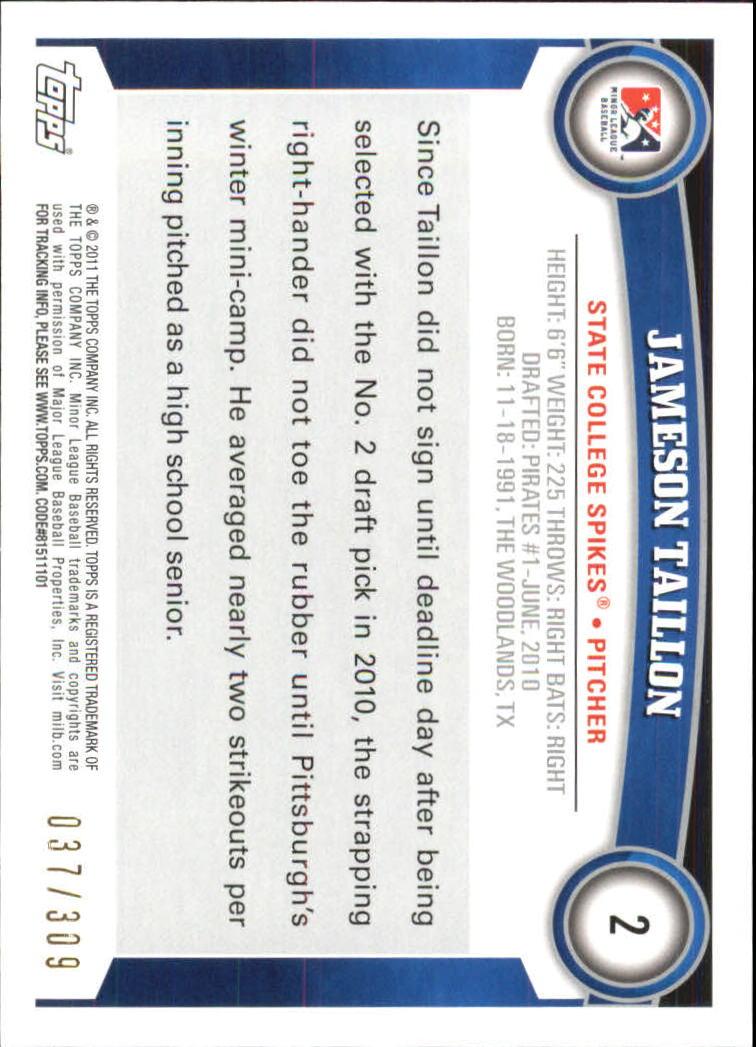 2011 Topps Pro Debut Blue #2 Jameson Taillon back image