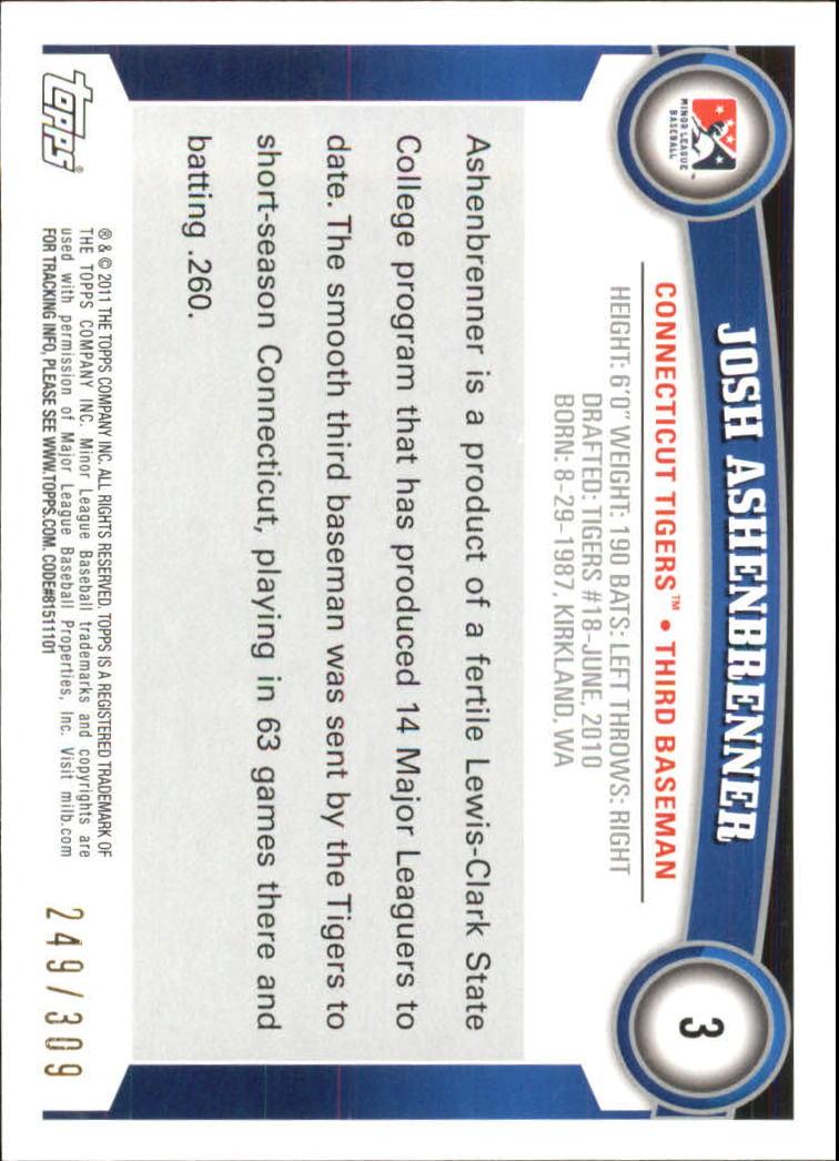 2011 Topps Pro Debut Blue #3 Josh Ashenbrenner back image