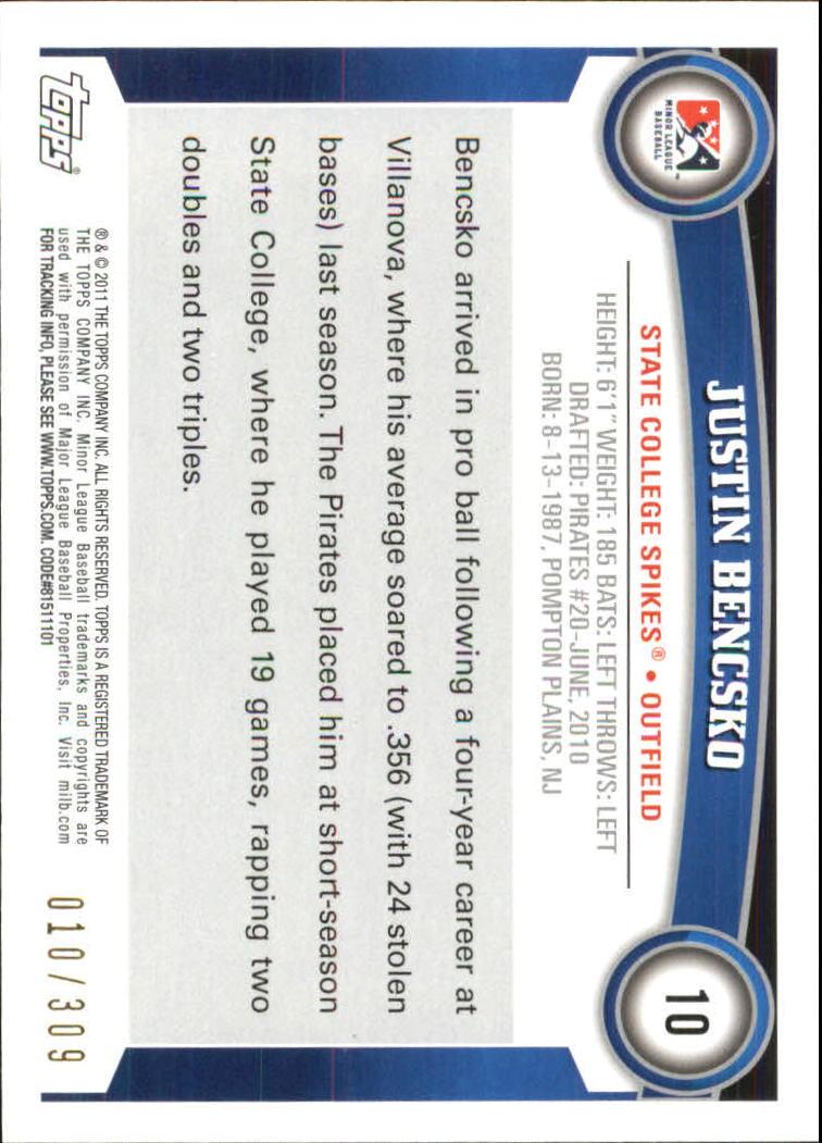 2011 Topps Pro Debut Blue #10 Justin Bencsko back image