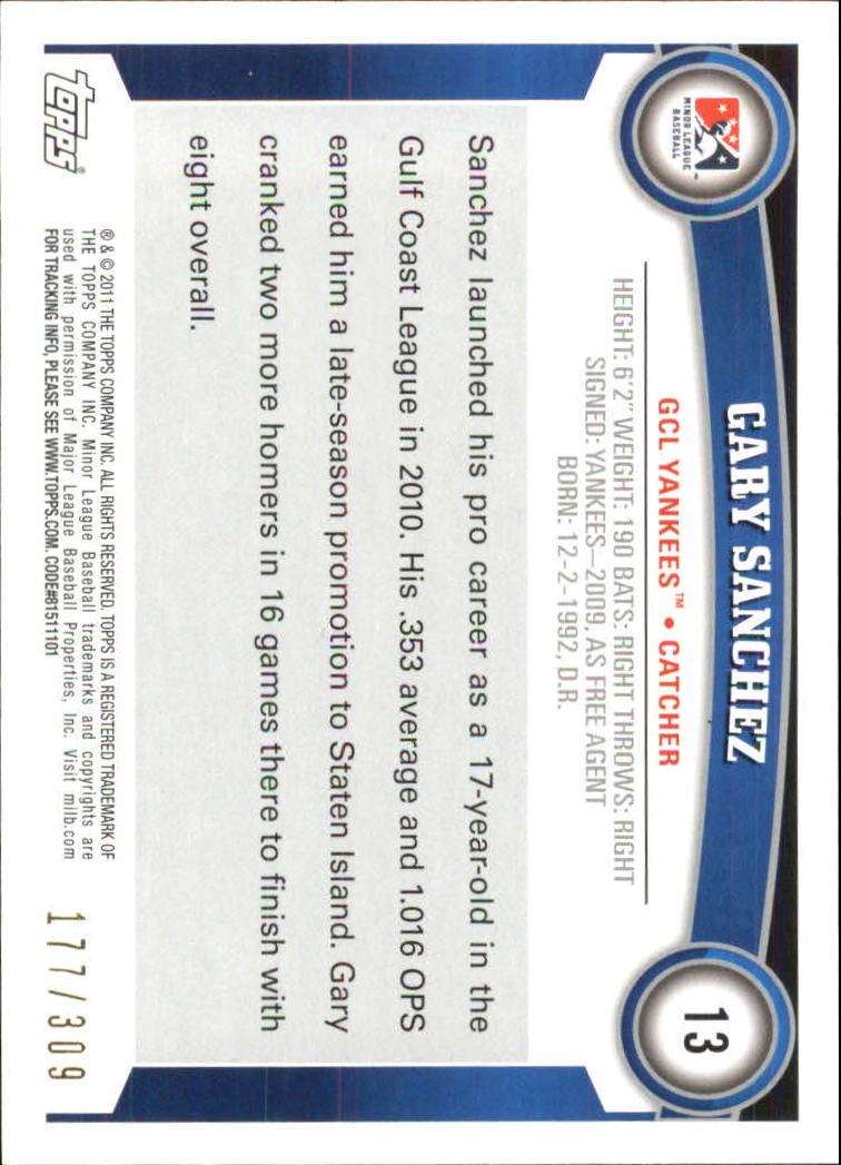 2011 Topps Pro Debut Blue #13 Gary Sanchez back image