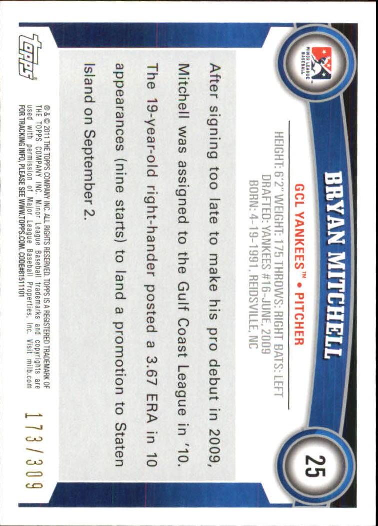 2011 Topps Pro Debut Blue #25 Bryan Mitchell back image