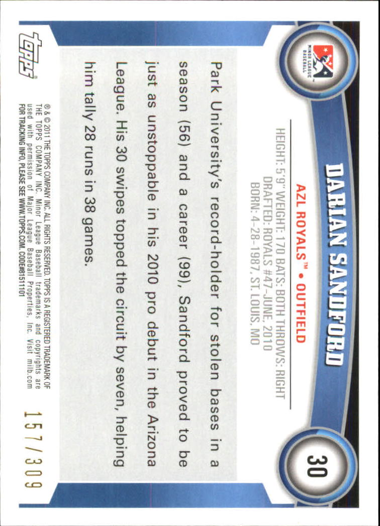 2011 Topps Pro Debut Blue #30 Darian Sandford back image