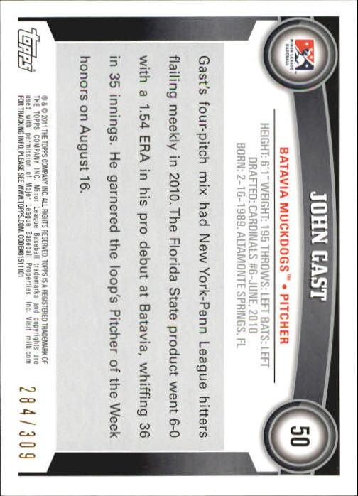 2011 Topps Pro Debut Blue #50 John Gast back image