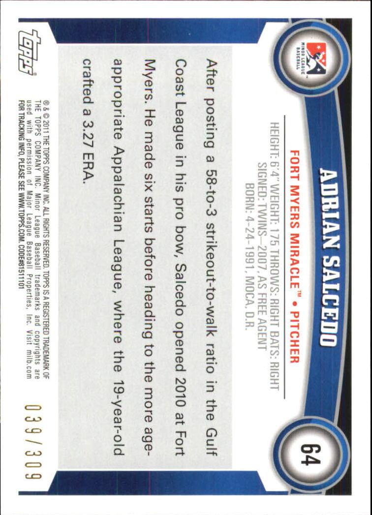 2011 Topps Pro Debut Blue #64 Adrian Salcedo back image