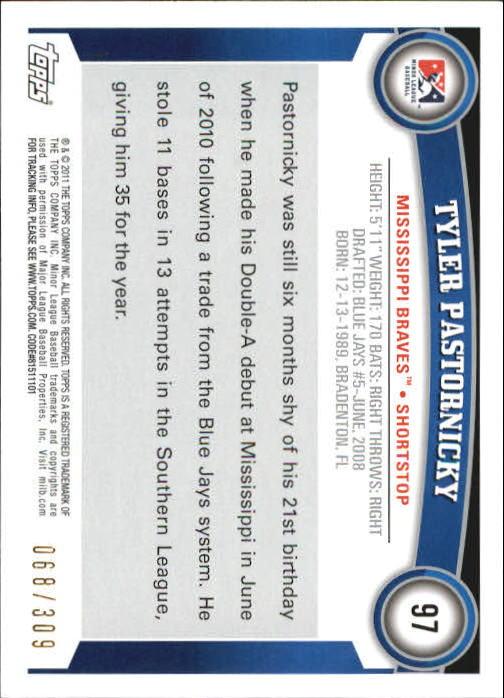 2011 Topps Pro Debut Blue #97 Tyler Pastornicky back image