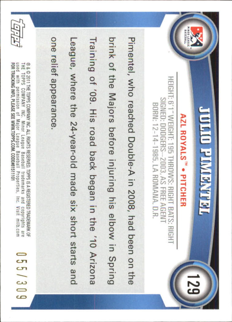 2011 Topps Pro Debut Blue #129 Julio Pimentel back image