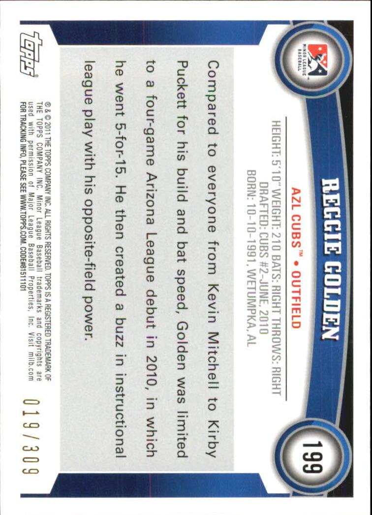 2011 Topps Pro Debut Blue #199 Reggie Golden back image