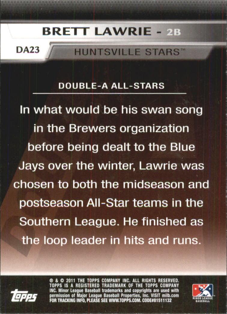 2011 Topps Pro Debut Double-A All Stars #DA23 Brett Lawrie back image