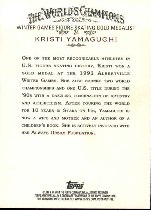 2011 Topps Allen and Ginter #24 Kristi Yamaguchi back image