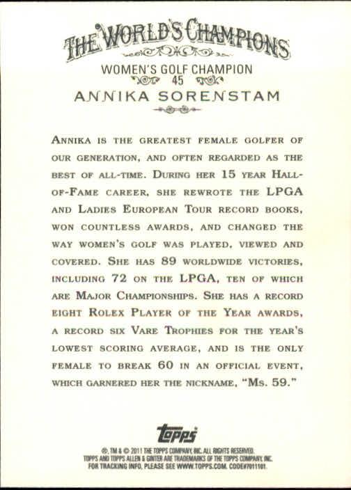 2011 Topps Allen and Ginter #45 Annika Sorenstam back image