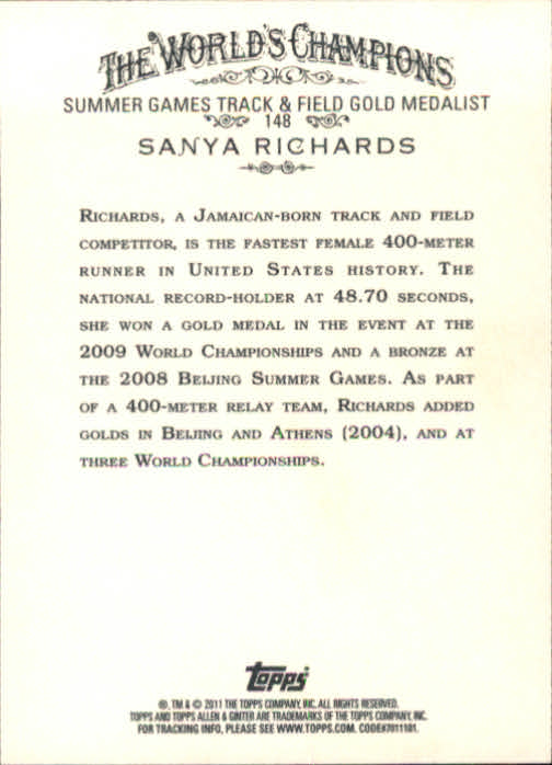 2011 Topps Allen and Ginter #148 Sanya Richards back image