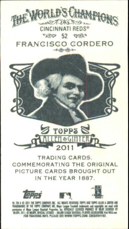 2011 Topps Allen and Ginter Mini #52 Francisco Cordero back image
