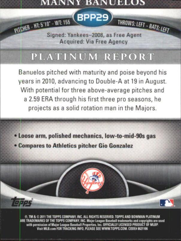 2011 Bowman Platinum Prospects #BPP29 Manny Banuelos back image