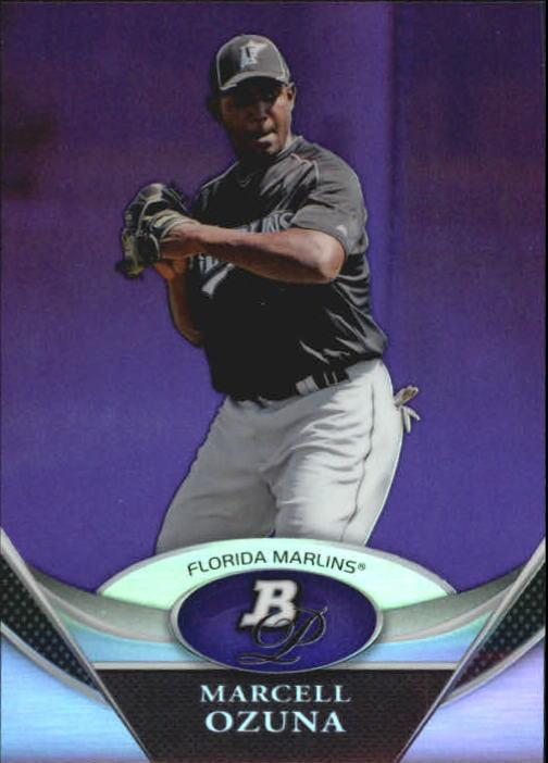 2011 Bowman Platinum Prospects Purple Refractors #BPP88 Marcell Ozuna