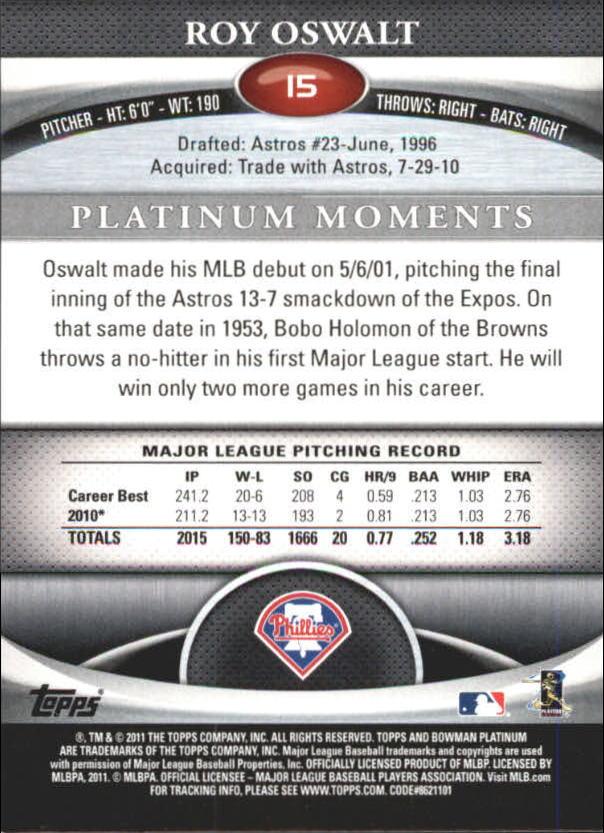 2011 Bowman Platinum Ruby #15 Roy Oswalt back image