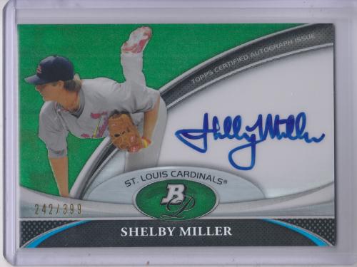 2011 Bowman Platinum Prospect Autograph Green Refractors #SM Shelby Miller
