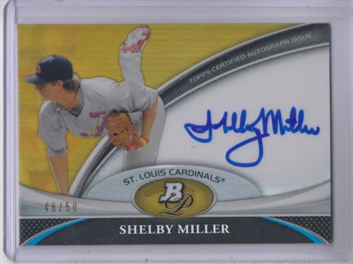 2011 Bowman Platinum Prospect Autograph Gold Refractors #SM Shelby Miller