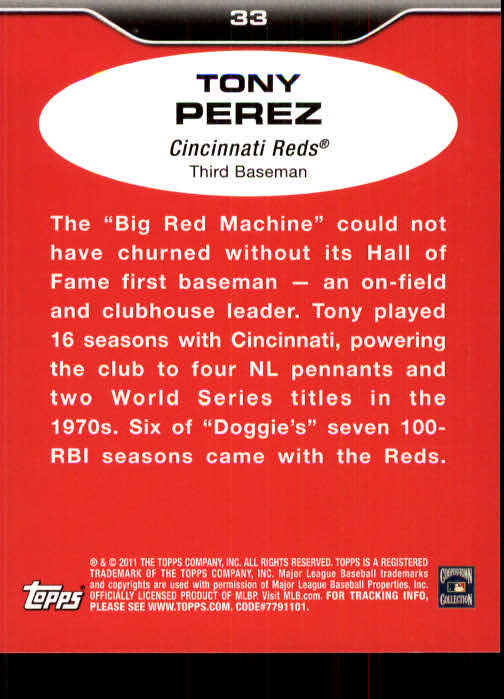2011 Topps Lineage #33 Tony Perez back image