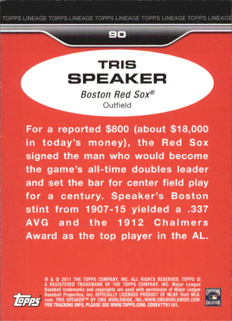 2011 Topps Lineage Diamond Anniversary Platinum Refractors #90 Tris Speaker back image