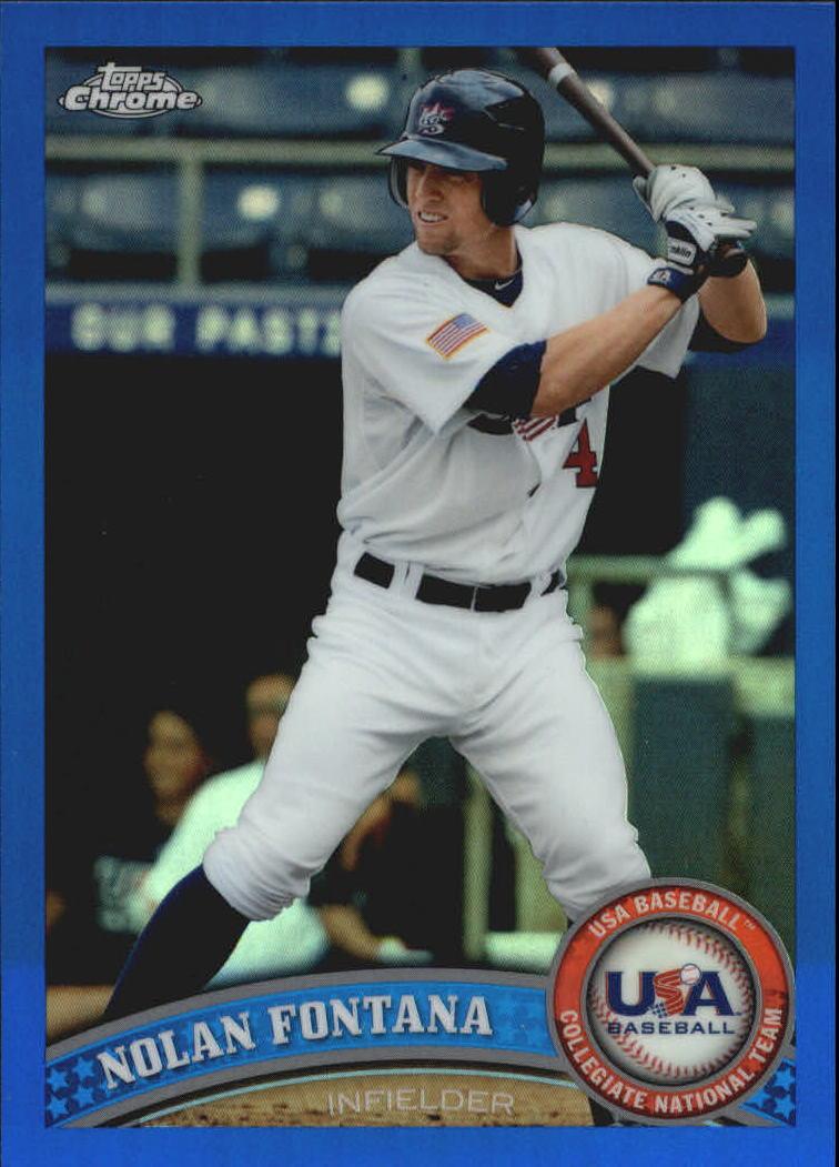 2011 Topps Chrome USA Baseball Blue Refractors #USABB6 Nolan Fontana