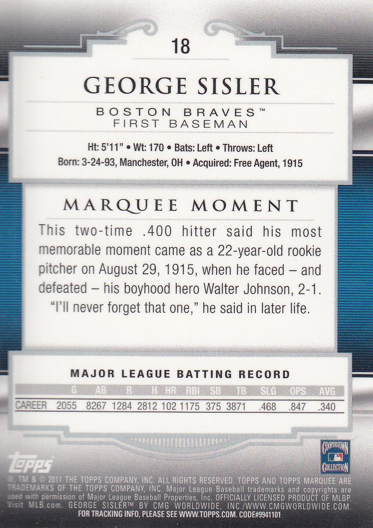 2011 Topps Marquee #18 George Sisler back image