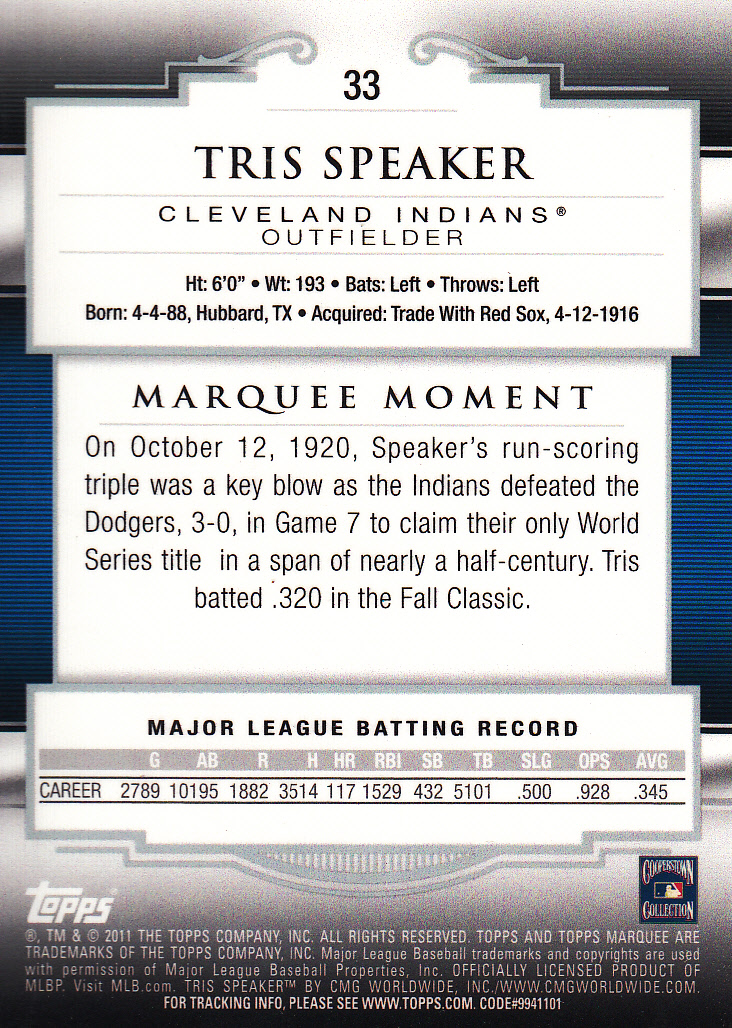 2011 Topps Marquee #33 Tris Speaker back image