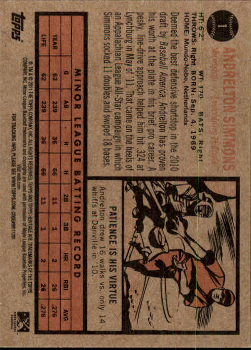 2011 Topps Heritage Minors #1 Andrelton Simmons back image