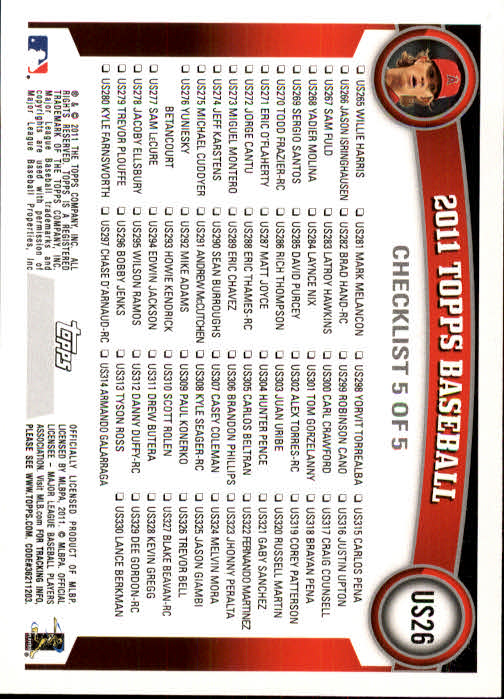 2011 Topps Update Baseball US1-US264 YOU PICK