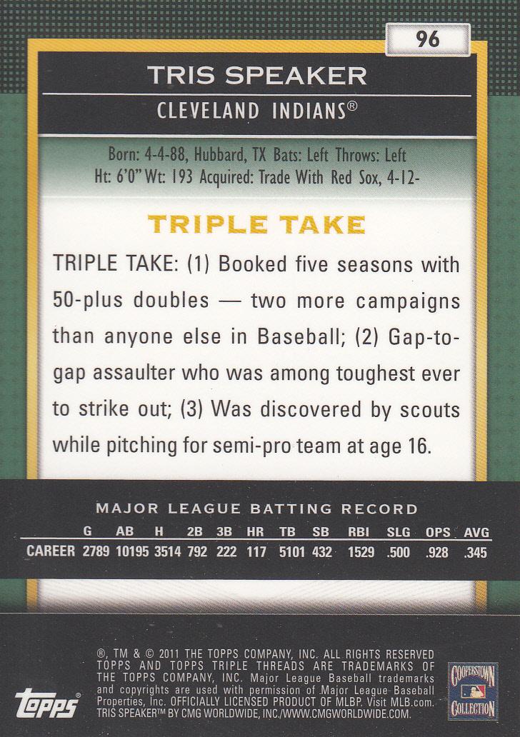 2011 Topps Triple Threads Emerald #96 Tris Speaker back image