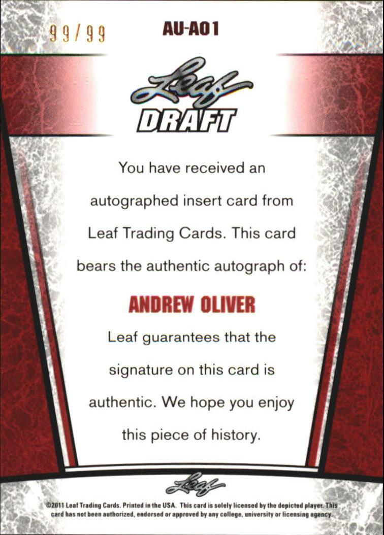 2011 Leaf Metal Draft #AO1 Andrew Oliver back image
