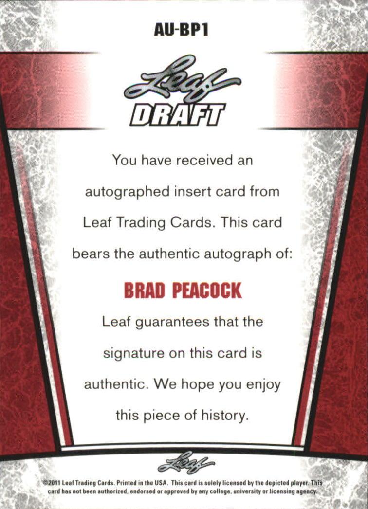 2011 Leaf Metal Draft #BP1 Brad Peacock back image