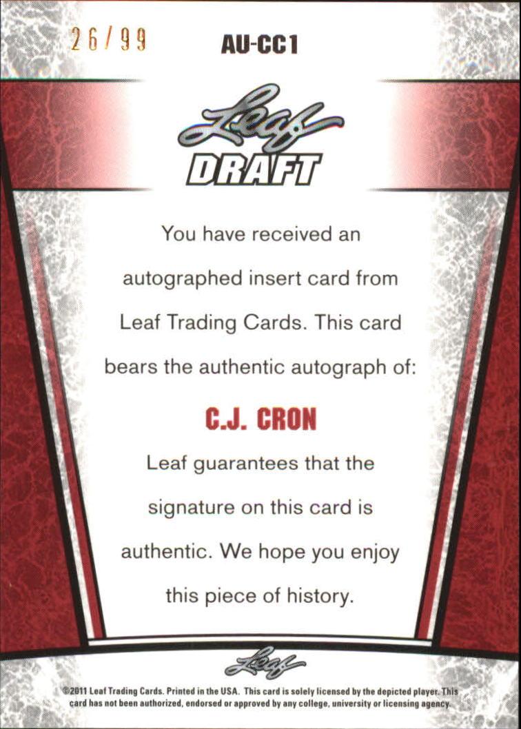 2011 Leaf Metal Draft #CC1 C.J. Cron back image